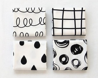 Fat Quarters Bundle Cotton Fabric, Black and White Fabric Package, Geometric Fabric Package - Set of 4