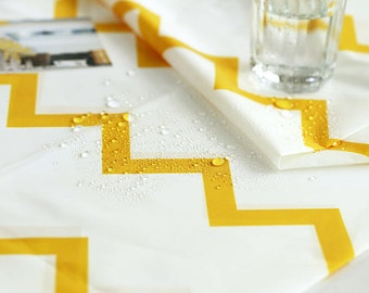 Yellow Chevron Waterproof Fabric - 59 Inches Wide - By the Yard 90767