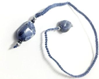 Light Blue Sodalite Nugget Macramé Bookmark