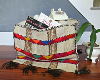 Vintage Tribal Wool Rug. Textile Organizer. Wool wall hanging with pockets. Camel saddle bag. Bohemian Tapestry Rug. 2 x 4|The Curious Moose