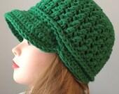 Unisex Emerald Green Newsboy Hat Snowboard Hat Green Boys Winter Hat Kids Crochet Hat Newsboy Cap, Hat with Visor, Brimmed Beanie