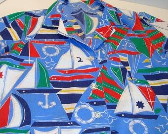Vintage Ladies Sailboat Shirt - Sailing Shirt - Sailboat - Anchors - Nautical Party Shirt - Vacation Sail Shirt