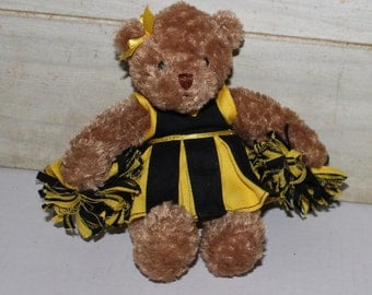 Gund Kayla Cheerleader Bear - Yellow and Black - Pom Poms - Vintage - Collectibles - Plushies - Toys - Bears - Stuffed Animals