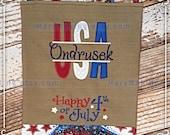 Burlap Monogrammed Burlap Outdoor Garden Flag Happy July 4th