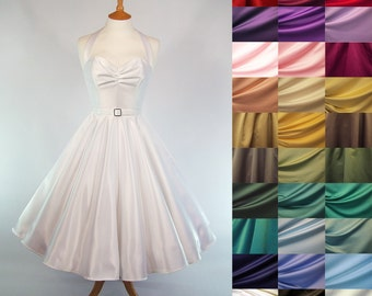 ANY COLOUR - Made To Measure Duchess Satin Full Circle Skirt Wedding Dress - Detachable Straps & belt
