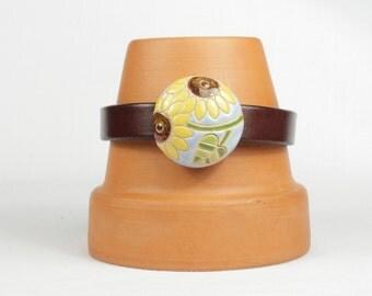 Woman's leather bracelet, Brown leather bracelet, Sunflower, Magnetic bracelet, CarolMade L54