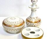 Lefton Porcelain Vanity 3 pc Set, White and Gold Moriage Perfume Bottle, Lipstick Holder and Covered Trinket Jar