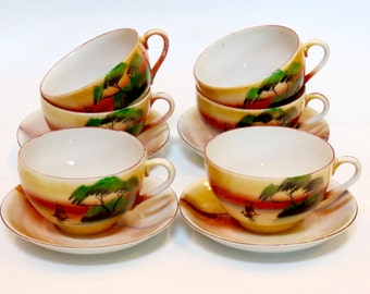 Japanese Eggshell Porcelain Cups and Saucers, 6 Teacups and 4 Saucer Set. Transparent Porcelain