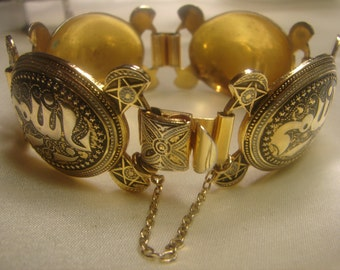 Damascene bracelet 48 grms, Big Middle Eastern- wrist chain-panels 40X30mm-1614