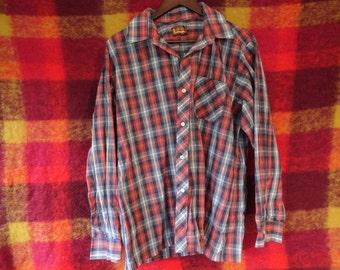 Laurentien Plaid Shirt Western Men's button up size L XL