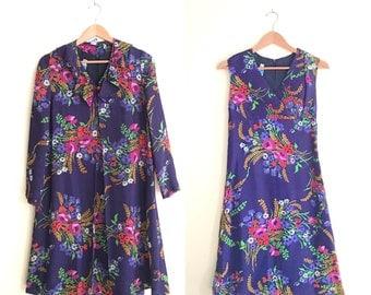 Vintage Floral Chiffon Dress & Long Cardigan Jacket Set // Two Piece Blue and Rainbow Floral Set // Babydoll Tent Jacket Empire Dress 60s