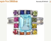 Valentines Day Sale Multicolor Rainbow Sapphire & Blue Topaz Rubix Cube Ring 925 Sterling Silver : sku 1785-925