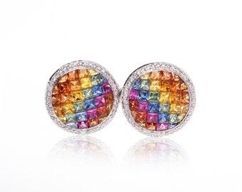 Multicolor Rainbow Sapphire & Diamond Fancy Round 18K Gold Earrings (7.40ct tw): SKU 23094