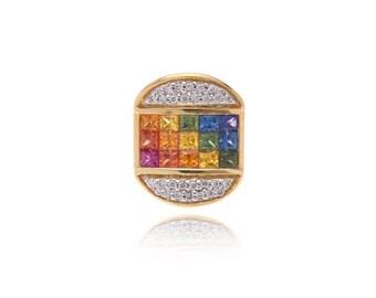 Multicolor Rainbow Sapphire & Diamond Pendant 18K Gold (1.99ct tw) SKU: 21262 + 23812 + 23143