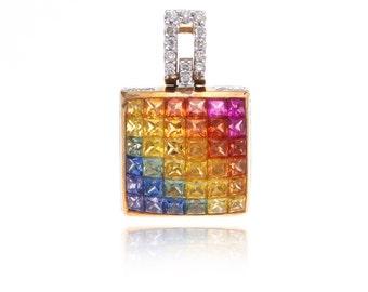 Multicolor Rainbow Sapphire & Diamond Pendant 14K Gold (3.69ct tw) SKU: 25523