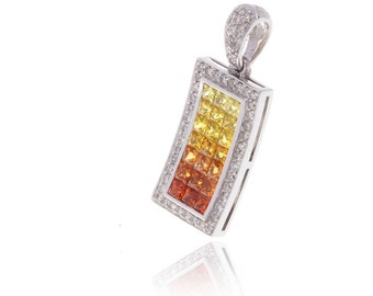 Multicolor Sunset Sapphire & Diamond Rectangle Pendant 18K Gold (3.69ct tw) SKU: 5478 + 12523