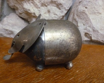 Vintage Napier Silver Plated Elephant Bank