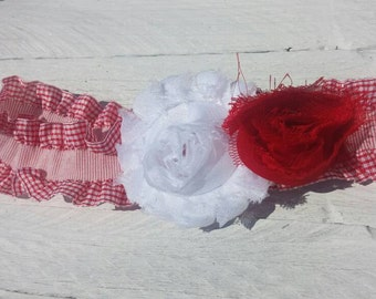 Red and white plaid flower baby headband