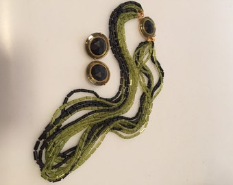 1960s Vintage Two Toned MULTI STRAND Necklace & Clip Earring SET New Old Stock