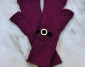 Fingerless Gloves Mitts Mulberry and Black Velvet with silver accent