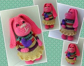 Pink dog art doll - Doris - amigurumi crochet with dress and puffy heart