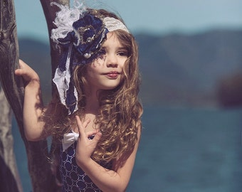 Navy blue and white Handmade Flower Headband, nautical headband baby band Feathers, Handrolled silk rosettes, pearls, Crystals veiling