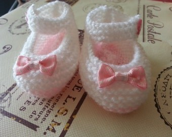 Hand Knitted Pink and White Baby Mary Jane Shoes