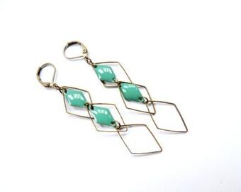 Earrings - diamond (Emerald and bronze) set