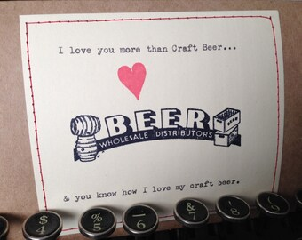 Craft Beer Card Love card anniversary valentine card i love you more than craft beer