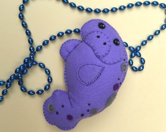 Hand Embroidered Manatee Felt Plushie Ornament ~ Made To Order