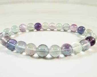 Rainbow Fluorite Stretch Bracelet Gemstone Round 8mm Bead
