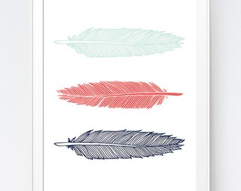 Mint Coral Navy Feather Print, Feathers Wall Art, Feathers Print, Feathers Dorm, Home Decor Wall Feathers, Wall Art Print, INSTANT DOWNLOAD