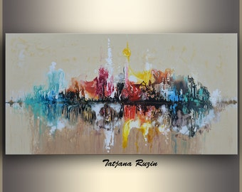 Skyline Abstract painting by Tatjana, Colorful Modern Oil Painting on canvas, texture, Cityscape, Abstract Art, Wall Art, Original Artwork