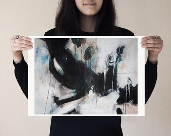 Solitary Alarm print poster medium large affordable artwork muted monochrome modern smoke black white gray grey blue  by Julie Robertson