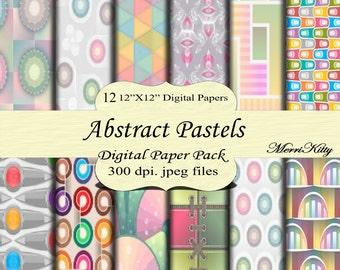 "Instant Download - Digital Scrapbook Pack - Abstract Pastels - MK97 - 12 12""x12"" Digital Paper - Collage Sheets - Scrapbooking Paper"