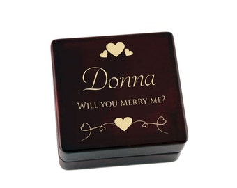 Engraved Wooden Proposal Ring Box