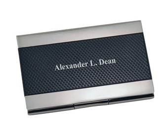 Personalized Black & Silver Business Card Holder