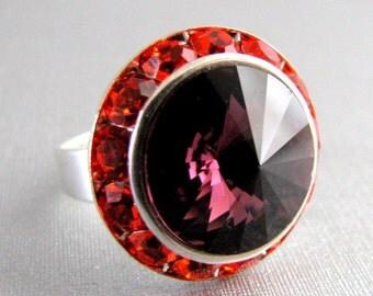 Vintage Amethyst on Hyacinth Swarovski Crystal Ring Adjustable Silver Halo