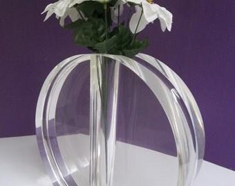 On Sale!!! LARGE Vintage Mid Century Modern Lucite Acrylic Signed Kazan Vase Sculpture 2260