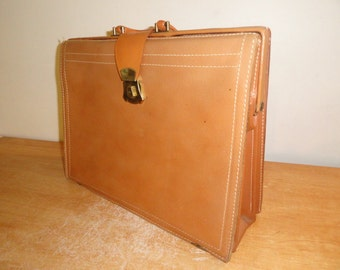 Vintage Brown Top Grain Split Cowhide REXBILT 1960's Doctor/Salesman Case Briefcase Attache