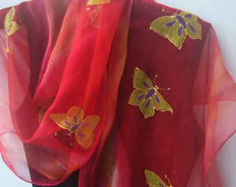 Gorgeous Golden Butterflies Red Chiffon Scarf for Ladies. Hand Painted Golden Butterflies Long Luxury Chiffon Scarf 18x71 in  Scarf byArtist