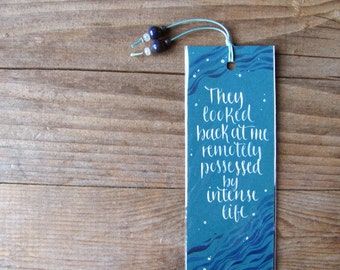 The Great Gatsby quote on teal handmade bookmark, calligraphy - they looked back at me...