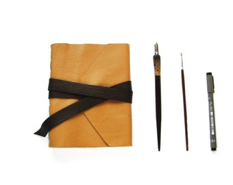Large Blank Leather Journal with Wrap Around Tie