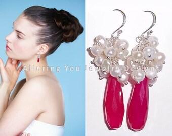 Pearl Cluster Earrings, Hot Pink Gemstone Earrings, Pink Earrings, Dangle Earrings, Sterling Silver Earrings