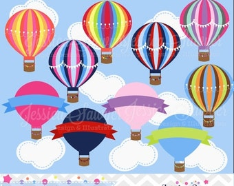 80% OFF - INSTANT DOWNLOAD, hot air balloon clipart, hot air balloon party, baby shower, balloon logo, commercial use, invites, printables
