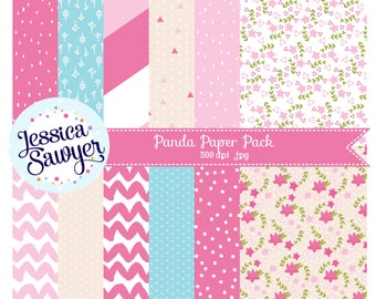 INSTANT DOWNLOAD, asian digital papers or panda pattern paper