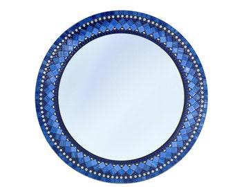 Blue Round Mosaic Wall Mirror // Mixed Media Mosaic Mirror // Wall Decor