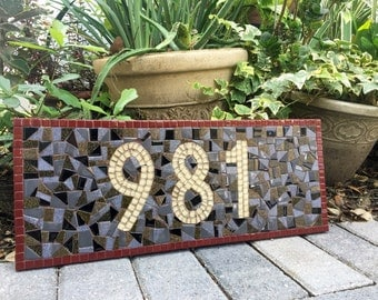 House Number Sign, Custom Mosaic Address Sign, Earth Tones