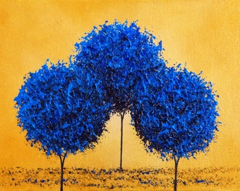 Art Print of Abstract Painting, Blue Trees, Contemporary Blue Gold Wall Art, Giclee Print of Tree Artwork, Bold Art, Abstract Art Home Decor