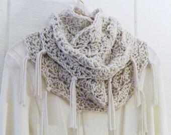Crochet Infinity Scarf Fringe Cowl Ecru Beige Wavy Shell With Tassels